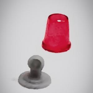 Набор из 5 красных проблесковых маячков FER DDR Ruhla со вставкой (NEW!!!)