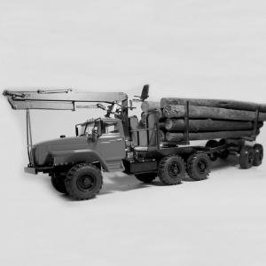 Надстройка лесовоз для Урал 44202-0311 c КМУ + прицеп роспуск ТМЗ-803